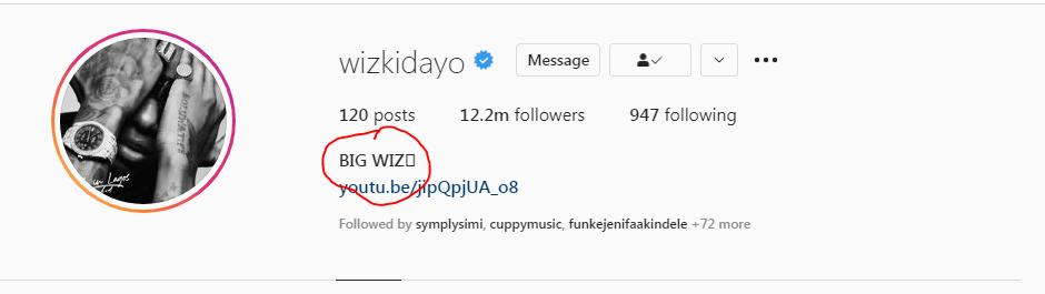 Nigerian Singer, Wizkid Changes His Identity Instagram