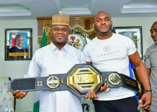 UFC Champion, Kamaru Usman Meets Yahaya Bello (Photos)