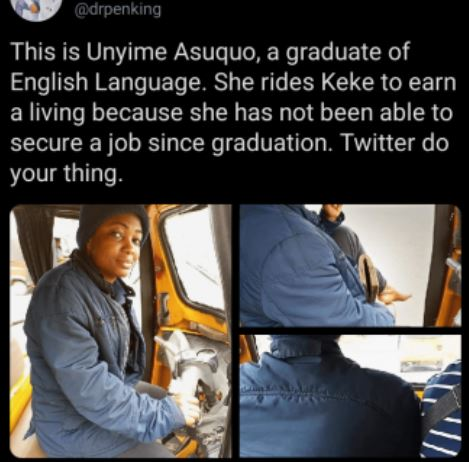 Beautiful Female Graduate Turns Keke Driver Due To Unemployment