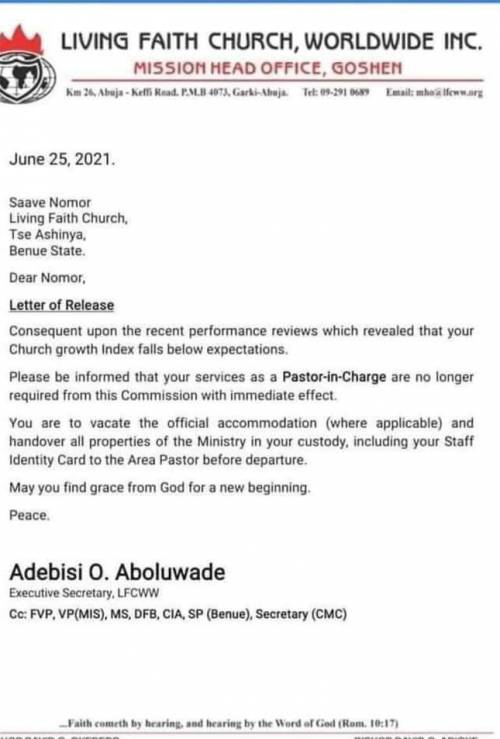 'Bishop Oyedepo's Winners Chapel Sacked Me, Others For Not Making Enough Money'
