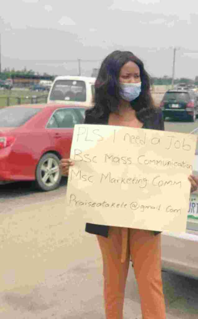 Lady who took to the streets to beg for job celebrates as she finally gets one - Naija News 247