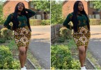 Bisola Aiyeola flaunts her hour glass figure in Ankara Short Dress