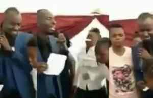 Pastor feeds his members bible