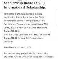 Yobe State Scholarship Board disclaimer notice