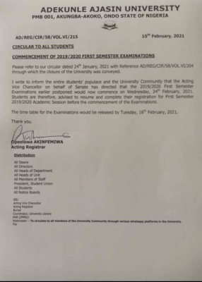 AAUA notice on commencement of 1st semester exams for 2019/2020 session