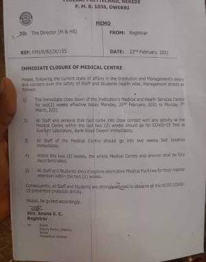 Fed Poly Nekede orders immediate closure of Medical Centre