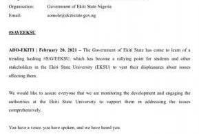 Ekiti State Government press release on #saveEksu