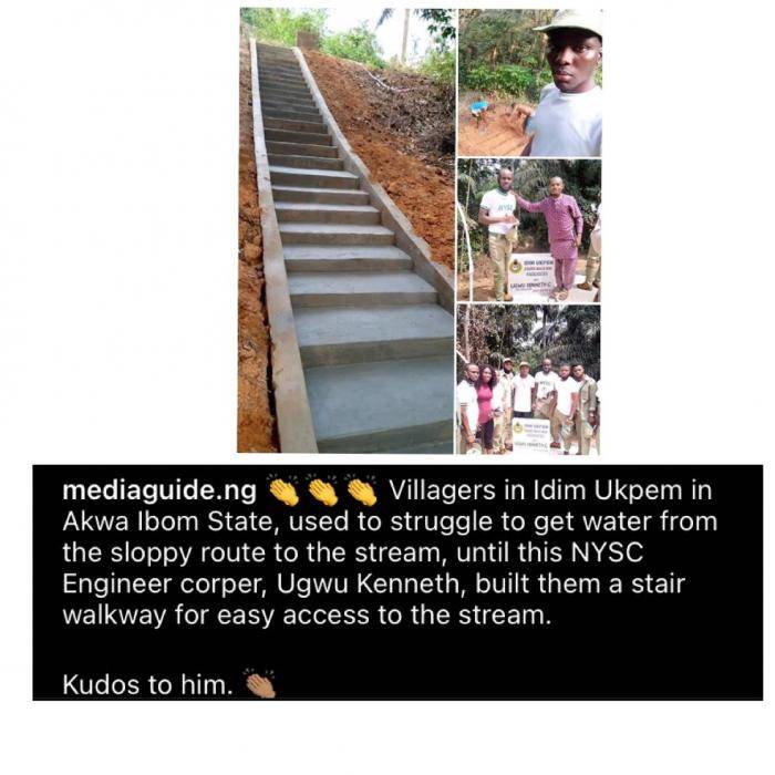 Corps member warms hearts after building a stair walkway for a community