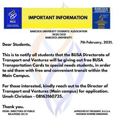 Babcock University BUSA notice on Transportation card giveaway