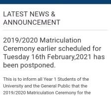 UNIPORT postpones 2019/2020 matriculation ceremony