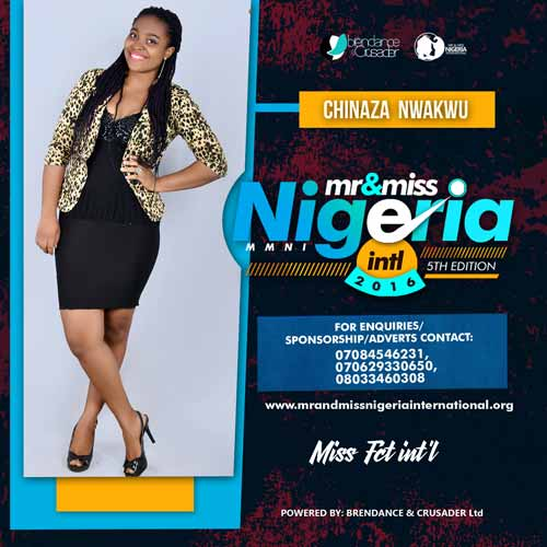 Nwankwu Chinaza, Finalists, Mr And Miss Nigeria International Pageant 2016