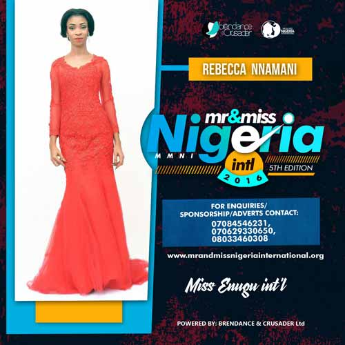 Rebecca Nnamani, Finalists, Mr And Miss Nigeria International Pageant 2016