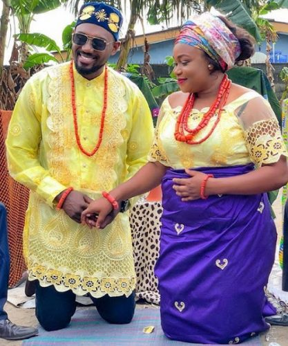 Ruth Kadiri and husband during their traditional marriage