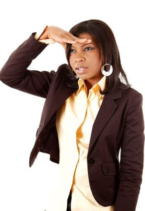 This is an image of business woman searching.