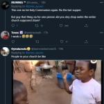 Nigerian reacts as man shares photos of the Holy Communion given to him in church