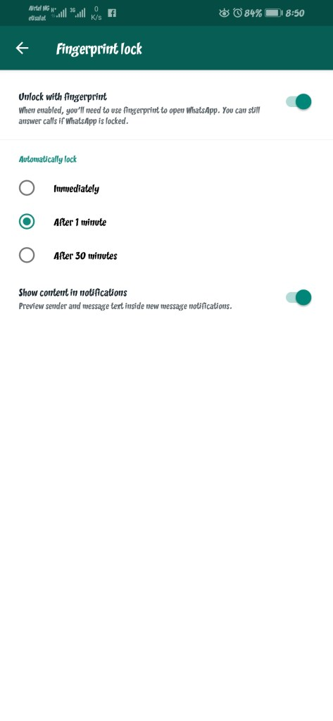 WhatsApp Fingerprint Unlock feature arrives on Android 49