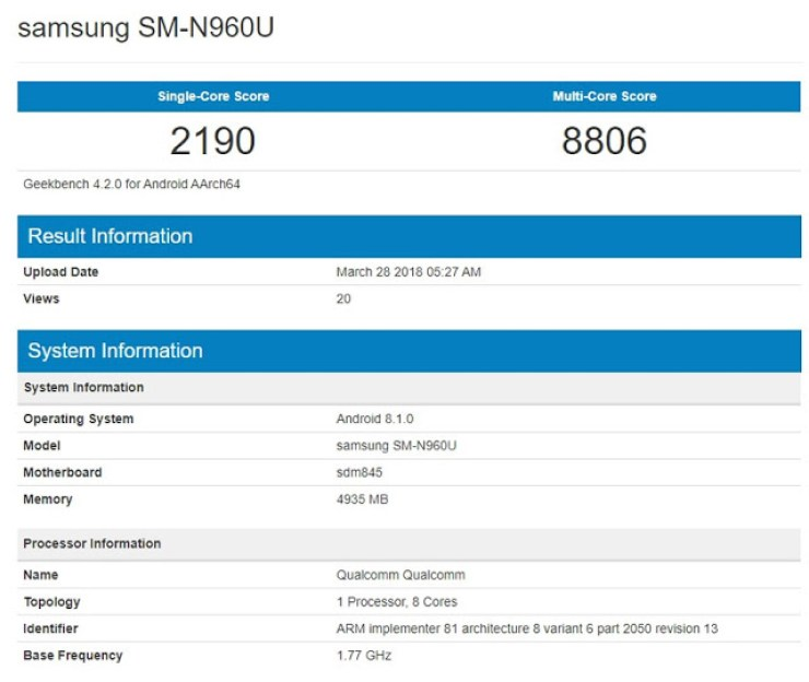 Specifications Of The Samsung Galaxy Note 9 Leaked in BenchMark 3