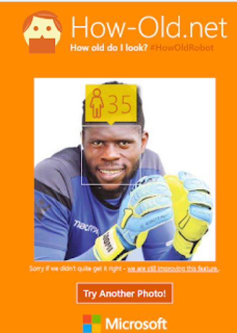 """See How Old Microsoft's Age Guesser Thinks Nigeria's 19 Year Old Goal Keeper """"Really"""" Is? 3"""