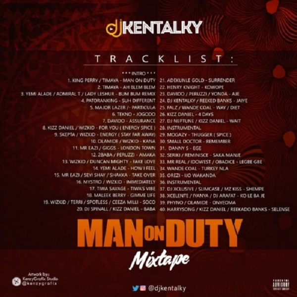 DJ Kentalky Man On Duty Mixtape Tracklist