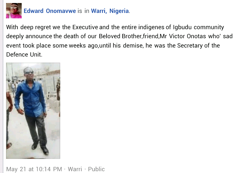 Corpse of missing Delta community leader allegedly found floating in river with his hands and legs tied