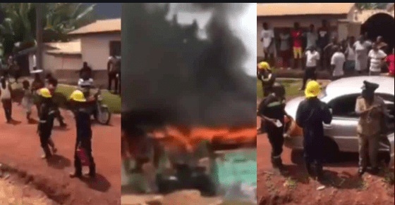 Video of Ghana Fire Service personnel arriving in a taxi and with fire extinguishers to fight fire goes viral