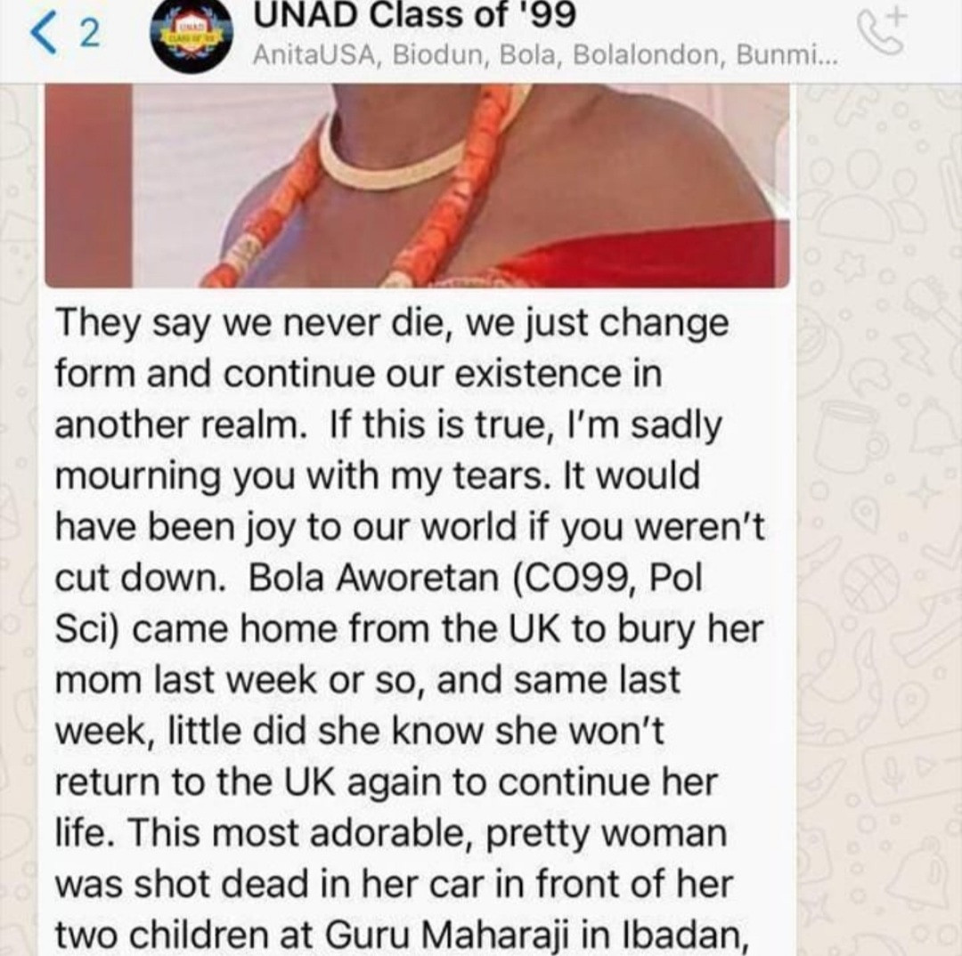 UK-based Nigerian woman shot dead along Lagos/Ibadan expressway after returning to the country to bury her mother