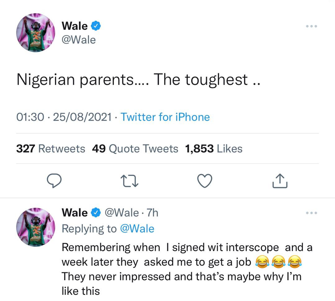 Nigerian parents are the toughest. They are never impressed - Rapper Wale