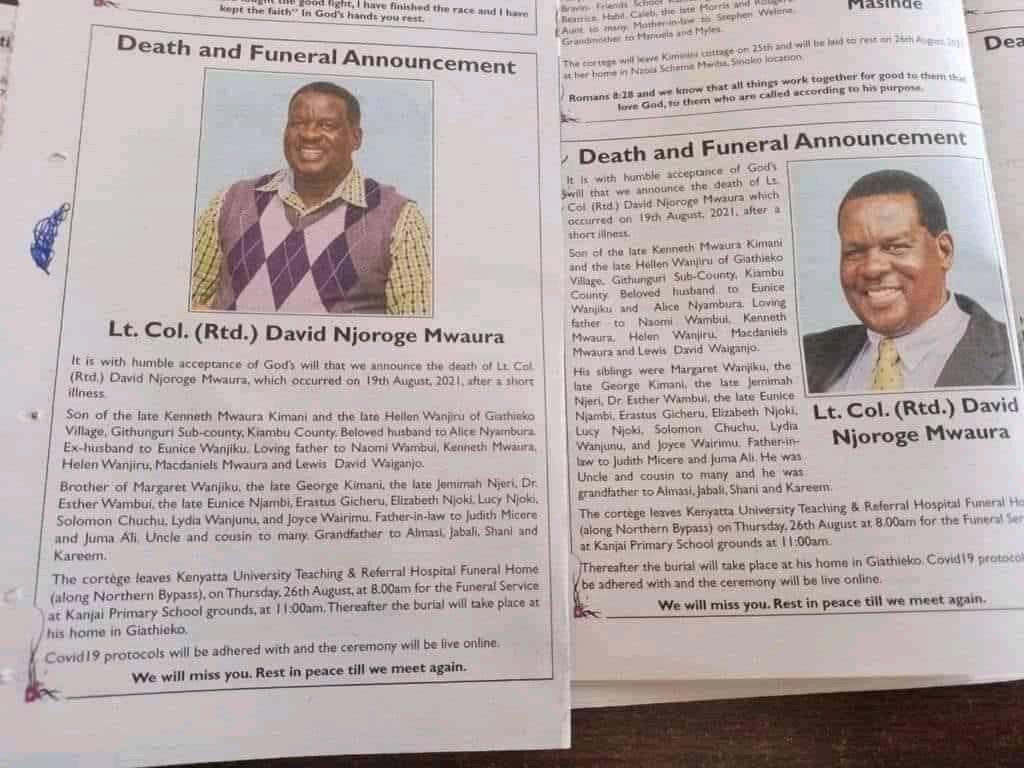 Two separate obituaries of a Kenyan man published in same newspaper recognizing 2 widows while the other describes one as