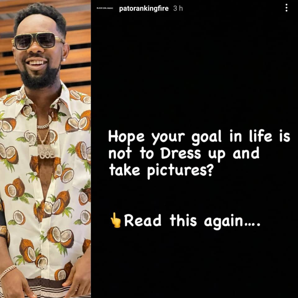 612fe23a60b0e - Hope your goal in life is not to dress up and take pictures - Patoranking asks