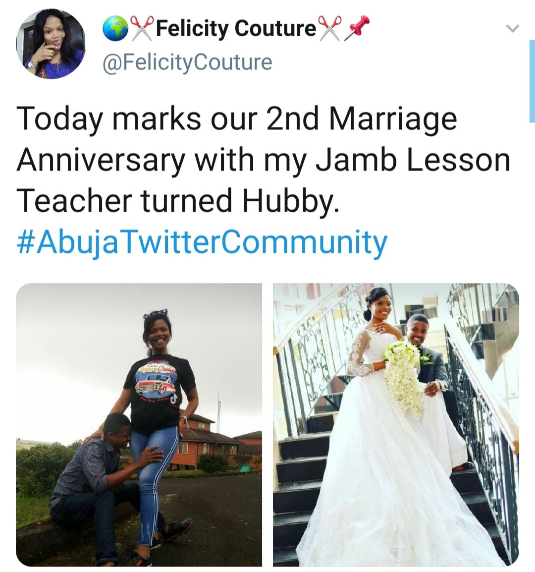 """61315858e0cb2 - """"JAMB lesson teacher turned hubby"""" Woman writes as she celebrates wedding anniversary with her former teacher"""