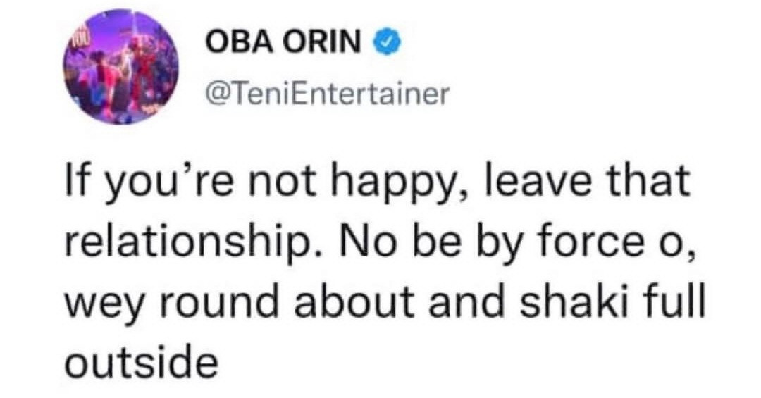 Singer, Teni advises those who are unhappy in their relationships