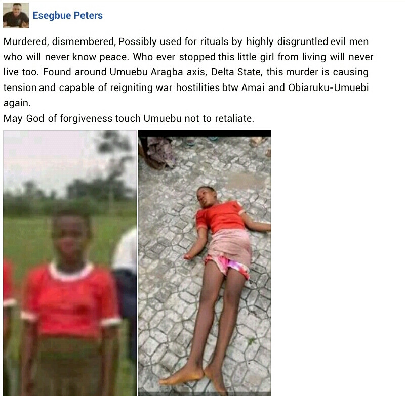 Teenage girl found dead with hands chopped off in Delta community