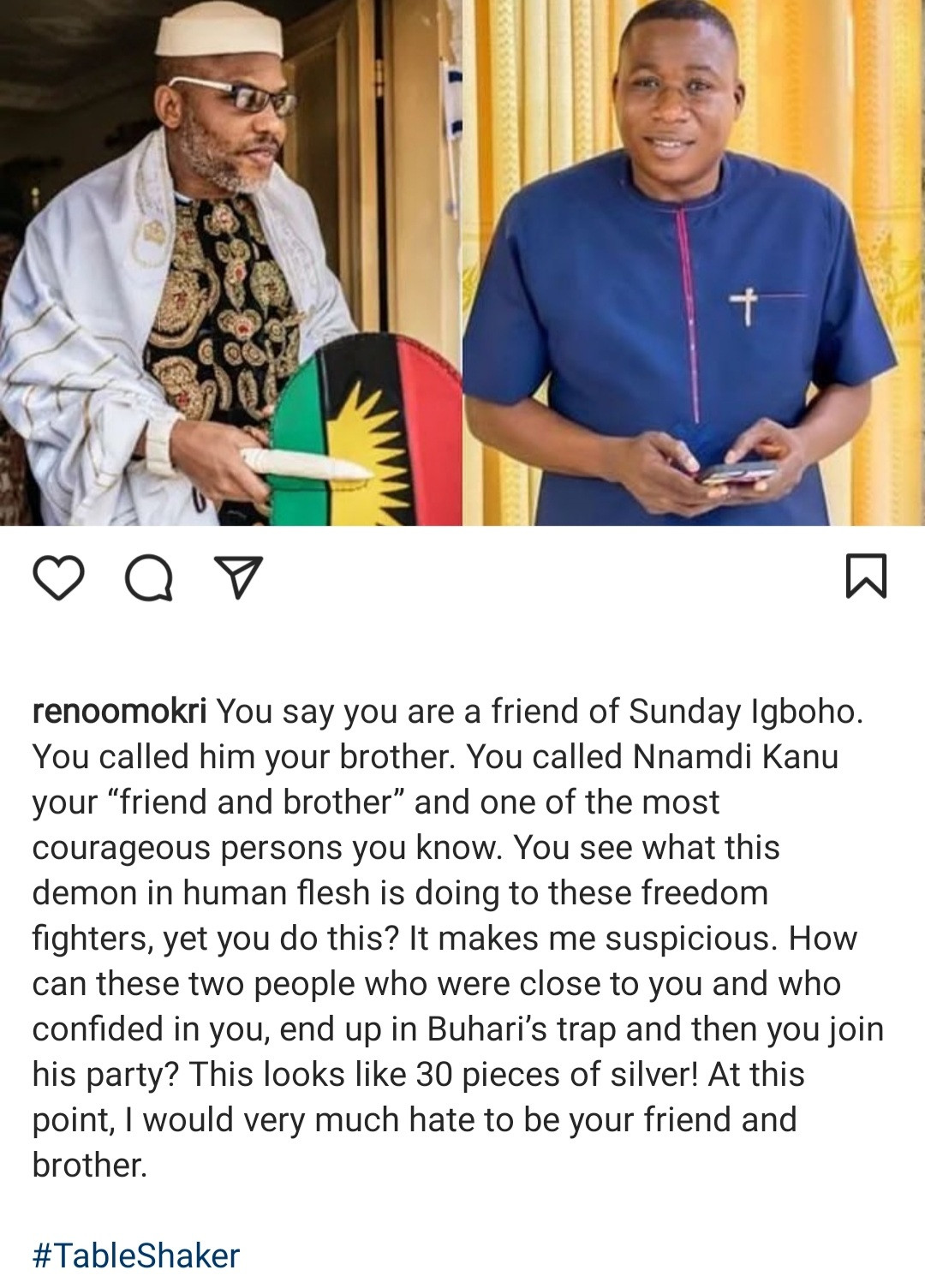 You say Nnamdi Kanu and Igboho are your brothers and then you join Buhari