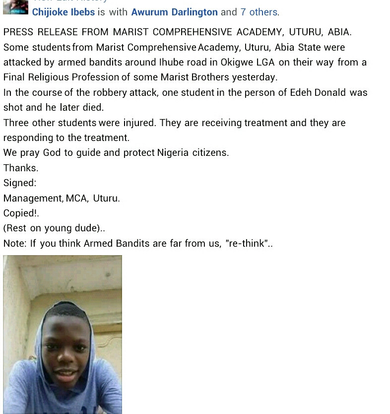 Secondary school student shot dead as gunmen attack travellers in Imo