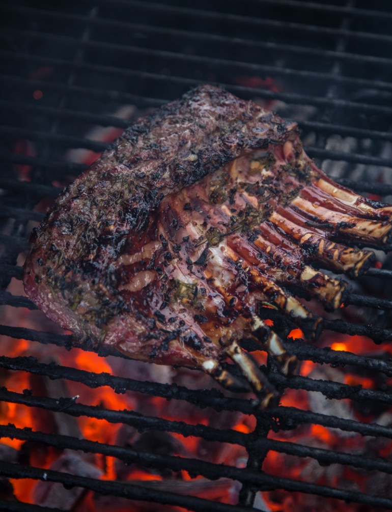 Lamb Chops cooking on the grill 2