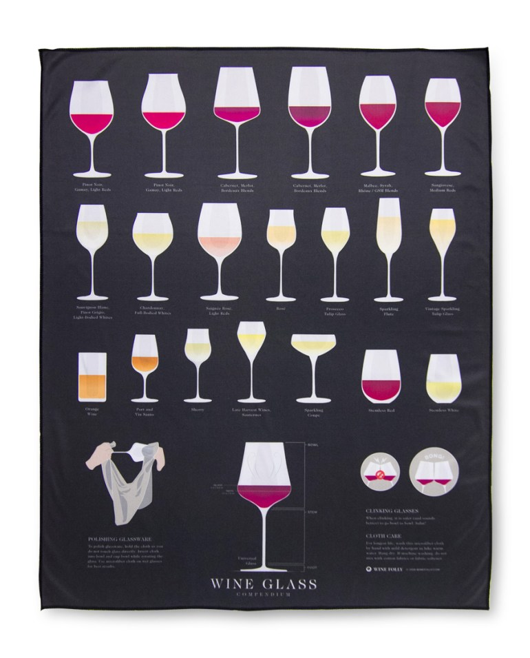 photo of product Wine Folly Microfiber Wine Glass Compendium Polishing Cloth  (22 x 28)