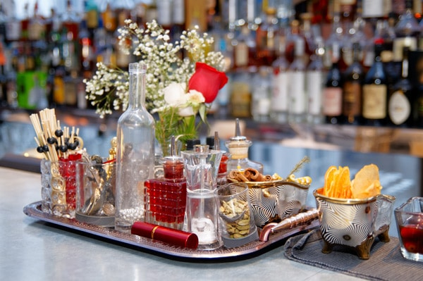 a stocked bar for holiday entertaining