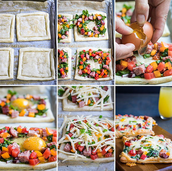 pictures of the process to make breakfast tarts with baked eggs