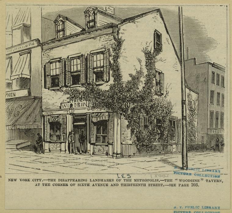 Woodbine Tavern, 13th Street & 6th Avenue, 19th Century.