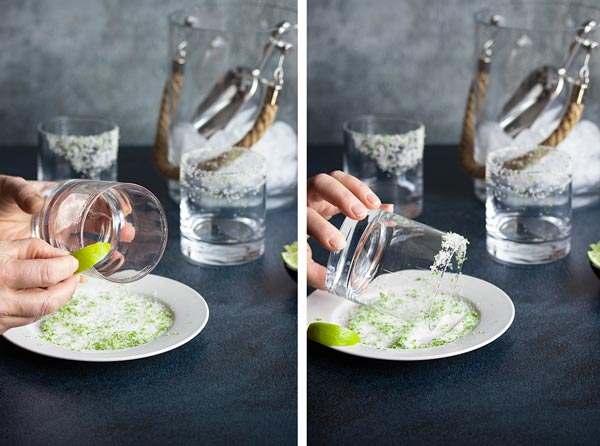 two pictures showing how we rimmed our glass with a lime wedge and then salt and lime zest