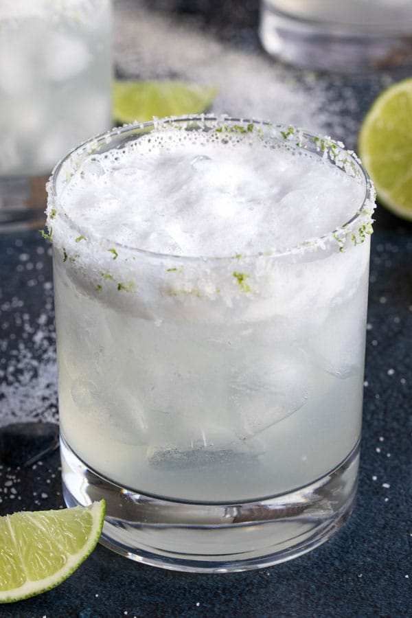 a close up shot of a margarita.  shows the egg white froth on top!