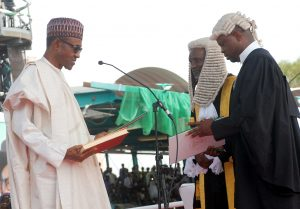 Buhari being sworn-in as a civilian president in a sea of hope and goodwill