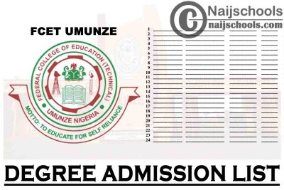 Federal College of Education Technical (FCET) Umunze Degree Admission List for 2020/2021 Academic Session | CHECK NOW