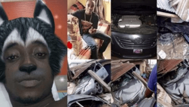 Photo: Young Boy Celebrates As He Crashes His Car 24 Hours After Buying It In Delta State
