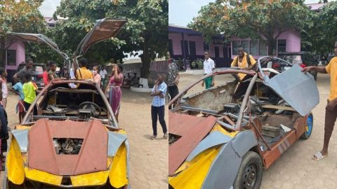 'I built everything from scratch' – 18-year-old JHS graduate narrates how he made his Buggati-like car (Video)