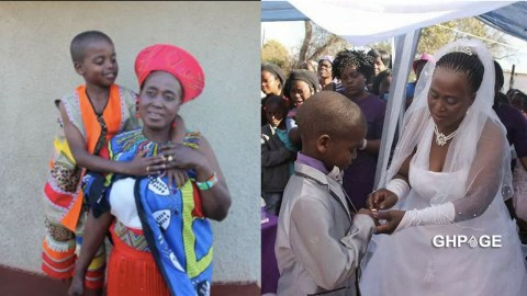 Photos: Boy,9, ties the knot with a 62-year-old woman