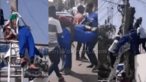 Tears flow as man dies while fixing political Party's flag on light pole [video]