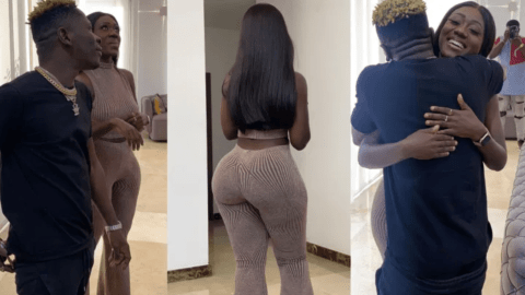 Hot photos of Shatta Wale and Hajia Bintu tightly holding on to each other in a room surface online