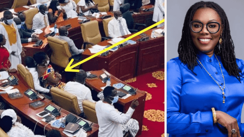 Ursula Owusu trends on Social media after she sat on NDC MP causing him to harden up(Photos)