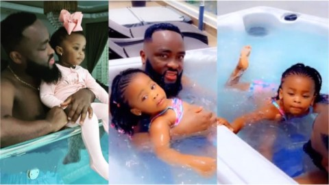 Nana Ama Mcbrown's daughter Baby Maxin shows off her swimming skills in a pool with father [Video]